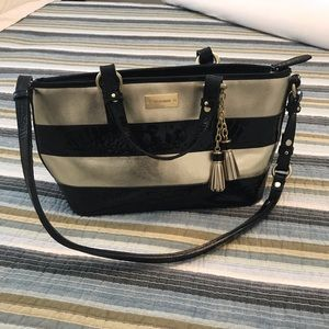 Brahmin Mini Asher Black & Gold bag